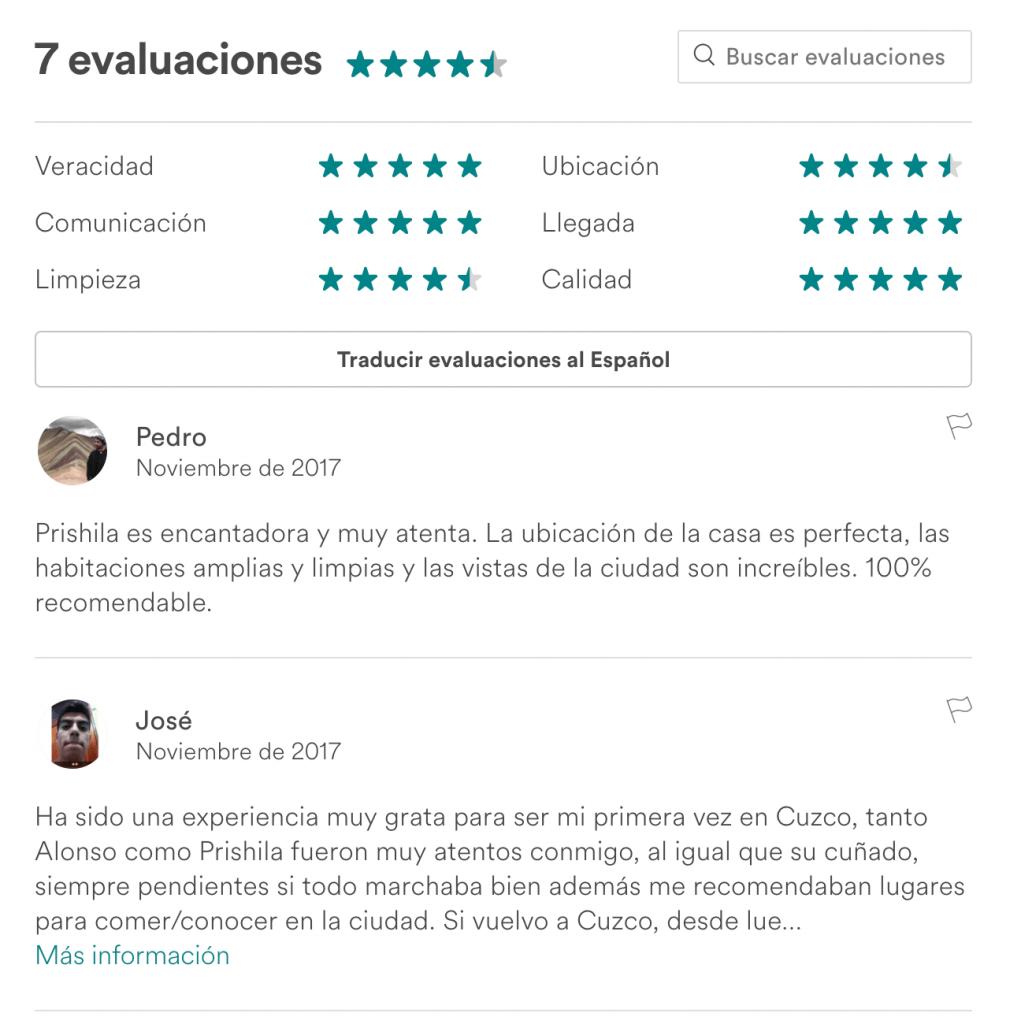 Algunas opiniones de airbnb en Cusco