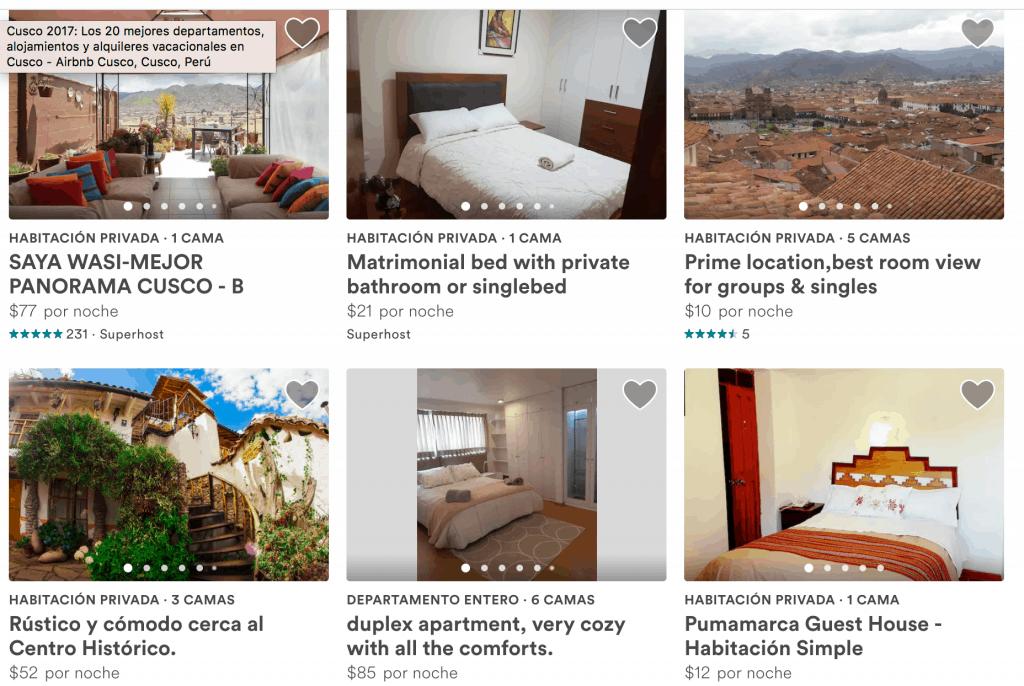 Algunas propiedades para hospedarse de Airbnb en Cusco