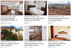 Algunas propiedades de Cusco en Airbnb
