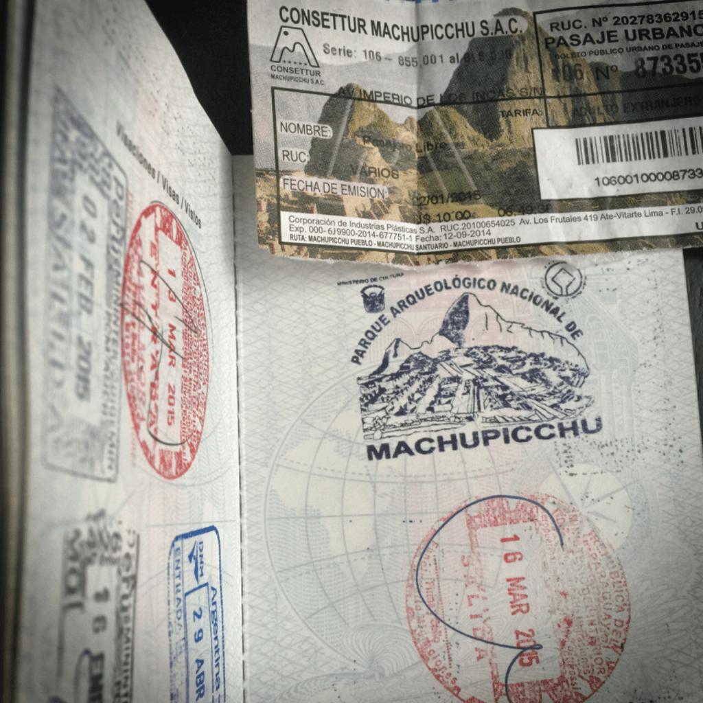 Pasaporte sello Machu Picchu